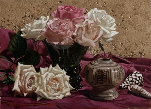 薔薇と小壷
