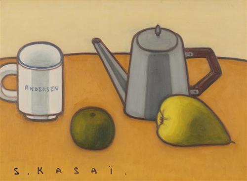 コーヒー茶碗とポットのある卓上静物